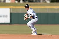 Peoria Javelinas second baseman Keston Hiura (23), of the Milwaukee Brewers organization, prepares to make a throw to first base during the Arizona Fall League Championship Game against the Salt River Rafters at Scottsdale Stadium on November 17, 2018 in Scottsdale, Arizona. Peoria defeated Salt River 3-2 in 10 innings. (Zachary Lucy/Four Seam Images)