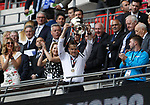 Tranmere Rovers 1 Forest Green Rovers 3, 14/05/2017. Wembley Stadium, Conference play off Final. Mark Cooper Manager of Forest Green Rovers with the play off trophy after the Vanarama Conference play off Final  between Tranmere Rovers v Forest Green Rovers at the Wembley. Photo by Paul Thompson.