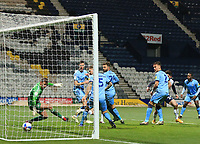 29th December 2020; Deepdale Stadium, Preston, Lancashire, England; English Football League Championship Football, Preston North End versus Coventry City;  Football, Preston North End versus Coventry City; Sean Maguire of Preston North End beats Coventry City goalkeeper Ben Wilson to score and give his side a 2-0 lead after 52 minutes