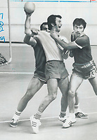 1976 FILE PHOTO - ARCHIVES -<br /> <br /> By all means: Soviet player jumps with ball-carrying Romanian in effort to stop him from getting ball away. Holding; kicking and use of elbows and knees and forbidden in team handball as in hockey; and as often ignored.<br /> <br /> <br /> Bezant, Graham<br /> Picture, 1976<br /> <br /> 1976<br /> <br /> PHOTO : Graham Bezant - Toronto Star Archives - AQP