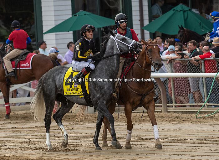 August 07, 2021: Knicks Go #4, ridden by jockey Joel Rosario in the post parade before the Grade 1 Whitney Stakes at Saratoga Race Course in Saratoga Springs, N.Y. on August 7, 2021. Robert Simmons/Eclipse Sportswire/CSM