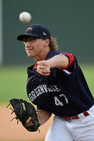 Pitcher Dominic LoBrutto (47) of the Greenville Drive delivers a pitch in Game 1 of a doubleheader against the Rome Braves on Friday, August 3, 2018, at Fluor Field at the West End in Greenville, South Carolina. Rome won, 7-6. (Tom Priddy/Four Seam Images)