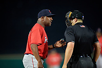 Pawtucket Red Sox manager Billy McMillon (51) argues a call with umpire John Mang during an International League game against the Rochester Red Wings on June 28, 2019 at Frontier Field in Rochester, New York.  Pawtucket defeated Rochester 8-5.  (Mike Janes/Four Seam Images)