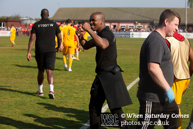 Visiting manager Darren Byfield celebrating at the final whistle after Ilkeston Town (in red) hosted Walsall Wood in a Midland Football League premier division match at the New Manor Ground, Ilkeston. The home team were formed in 2017 taking the place of Ilkeston FC which had been wound up earlier that year. Watched by a crowd of 1587, their highest of the season, the match was top versus second, however, the visitors won 4-0 and replaced their hosts at the top of the division on goal difference with two matches to play