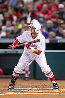 Houston Cougars third baseman Justin Montemayor (20) squares to bunt during the NCAA baseball game against the Texas A&M Aggies on March 7, 2015 in the Houston College Classic at Minute Maid Park in Houston, Texas. Texas A&M defeated Houston 6-0. (Andrew Woolley/Four Seam Images)