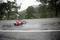 Romain Lemarchand (FRA/Cofidis) crashed (hard) as many riders in front of him did while already going extremely slow on the slippery descent.<br /> Rain turned the downhill road into (almost) an ice track.<br /> The race needed to be neutralised because of this.<br /> <br /> Tour of Turkey 2014<br /> stage 4