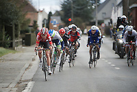 Tiesj Benoot (BEL/Lotto-Soudal) ups the pace in the front group; everybody needs to get out of the saddle to follow his pace<br /> <br /> 71st Dwars door Vlaanderen (1.HC)