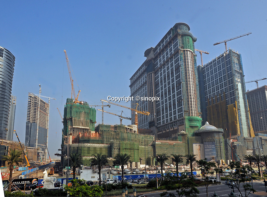 """New Casino's are built on the Cotai strip, on land reclaimed between Taipa and Coloane in Macau, 25th October 2008.  Macau is known simply as """"Vegas"""" in China. The former Potuguese colony, now a Chinese Special Administrative Region, attracts millions of Chinese gamblers annually and last year earned more gambling dollars than Las Vegas."""