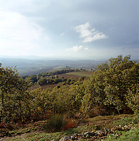 The stunning view from a Tuscan villa situated near the village of Montalcino