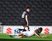 Lincoln City's Conor McGrandles battles with Milton Keynes Dons' David Kasumu<br /> <br /> Photographer Chris Vaughan/CameraSport<br /> <br /> The EFL Sky Bet League One - Milton Keynes Dons v Lincoln City - Saturday 19th September 2020 - Stadium MK - Milton Keynes<br /> <br /> World Copyright © 2020 CameraSport. All rights reserved. 43 Linden Ave. Countesthorpe. Leicester. England. LE8 5PG - Tel: +44 (0) 116 277 4147 - admin@camerasport.com - www.camerasport.com