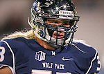 Nevada's Brock Hekking warms up before the first half of an NCAA college football game in Reno, Nev., on Saturday, Nov. 22, 2014. (AP Photo/Cathleen Allison)