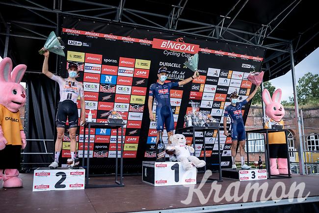 A covid-19 safe podium (social distance) with:<br /> <br /> 1st place finisher Jonas rickaert (BEL/Alpecin Fenix)<br /> 2nd place Nils Eekhoff (NED/Team Sunweb)<br /> 3th place Gianni Vermeersch (BEL/Alpecin Fenix)<br /> <br /> Dwars Door Het Hageland 2020<br /> One Day Race: Aarschot – Diest 180km (UCI 1.1)<br /> Bingoal Cycling Cup 2020