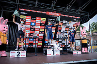 A covid-19 safe podium (social distance) with:<br /> <br /> 1st place finisher Jonas rickaert (BEL/Alpecin Fenix)<br /> 2nd place Nils Eekhoff (NED/Team Sunweb)<br /> 3th place Gianni Vermeersch (BEL/Alpecin Fenix)<br /> <br /> Dwars Door Het Hageland 2020<br /> One Day Race: Aarschot – Diest 180km (UCI 1.1)<br /> Bingoal Cycling Cup 2020