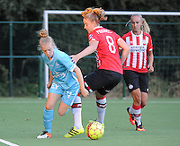 20160824 - GENT , BELGIUM : Gent's Elena Dhont (L) and PSV Eindhoven's Myrte Moorrees (8) pictured during a friendly game between KAA Gent Ladies and PSV Eindhoven during the preparations for the 2016-2017 season , Wednesday 24 August 2016 ,  PHOTO Dirk Vuylsteke   Sportpix.Be