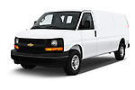 2018 Chevrolet Express 3500 3500 Extended Work Van 4 Door Cargo Van angular front stock photos of front three quarter view