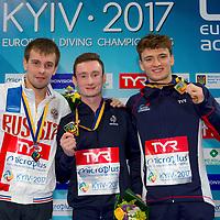 10m. Men Podium (L to R) Viktor MINIBAEV RUS Silver Medal, Benjamin AUFFRET FRA Gold medal, Matthew LEE GBR<br /> 10m. Men Platform Podium<br /> LEN European Diving Championships 2017<br /> Sport Center LIKO, Kiev UKR<br /> Jun 12 - 18, 2017<br /> Day07 18-06-2017<br /> Photo © Giorgio Scala/Deepbluemedia/Insidefoto