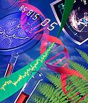 photo illustration, composite of symbols of genetics and health