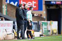 Mark Molesley, Manager, Southend United exchanges with the fourth official during Southend United vs Cheltenham Town, Sky Bet EFL League 2 Football at Roots Hall on 17th October 2020