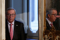 Il presidente della Commissione Europea Jean-Claude Juncker arriva alla conferenza stampa col presidente del Consiglio a Palazzo Chigi, Roma, 26 febbraio 2016.<br /> European Commission's President Jean-Claude Juncker arrives for a joint press conference with Italian Premier at Chigi Palace, Rome, 26 February 2016.<br /> UPDATE IMAGES PRESS/Riccardo De Luca