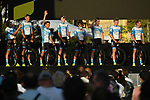 Israel Start-Up Nation on stage at the team presentation before the Tour de France 2020, Nice, France. 27th August 2020.<br /> Picture: ASO/Alex Broadway | Cyclefile<br /> All photos usage must carry mandatory copyright credit (© Cyclefile | ASO/Alex Broadway)