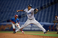 Tampa Tarpons relief pitcher Jefry Valdez (28) during a Florida State League game against the Clearwater Threshers on April 18, 2019 at Spectrum Field in Clearwater, Florida.  Clearwater defeated Tampa 10-3.  (Mike Janes/Four Seam Images)