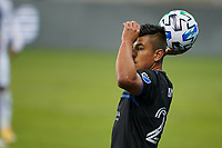 SAN JOSE, CA - NOVEMBER 4: Nick Lima #24 of the San Jose Earthquakes on a throw in during a game between Los Angeles FC and San Jose Earthquakes at Earthquakes Stadium on November 4, 2020 in San Jose, California.