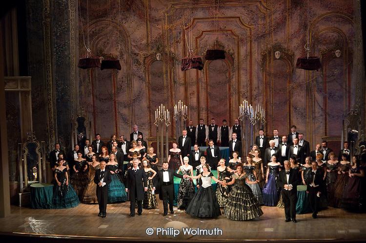 A performance of Verdi's La Traviata in the Lviv Opera House.