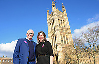 Picture by SWpix.com - 07/03/2018 - Cycling - 2018 OVO Energy Women's Tour Launch - Westminster, London, England - Mick Bennett (SweetSpot) and Claire Pulford (Breast Cancer Care) pictured at College Green outside the Houses of Parliament to launch the 2018 OVO Energy Women's Tour.