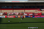 Fleetwood Town 5 Plymouth Argyle 1, 21/11/2020. Highbury Stadium, League One. A home player taking a shot during the warm-up before Fleetwood Town take on Plymouth Argyle in a League One fixture at Highbury Stadium. Originally formed in 1908, the current Fleetwood Town were reformed in 1997, gained six promotions in 10 years and have been in League One since 2014, and have played at their current ground since 1939. The home team won this game 5-1, but due to COVID-19 restrictions, no spectators were allowed to attend the match. Photo by Colin McPherson.