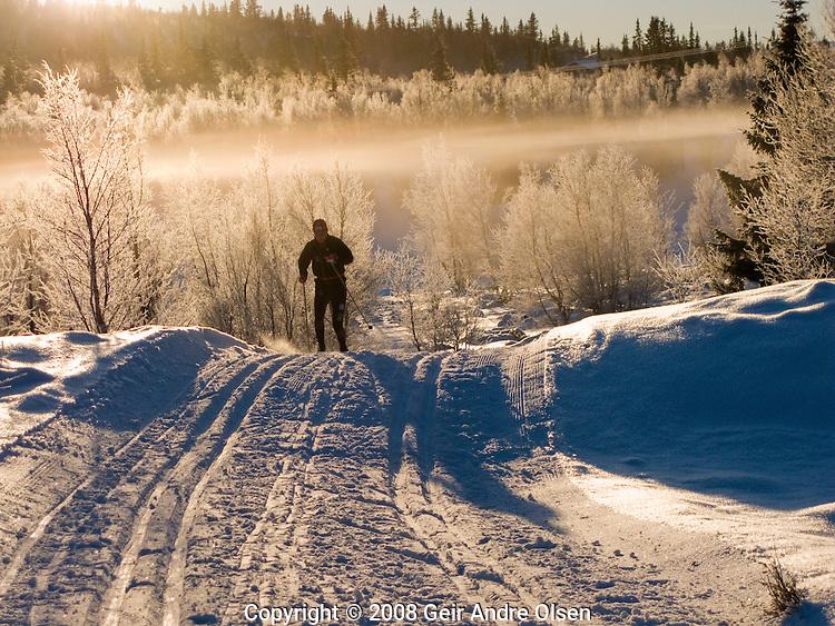 Cross-country skiier in Norwegian mountains