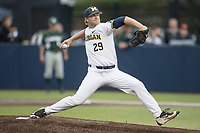 Michigan Wolverines pitcher Mac Lozer (29) delivers a pitch to the plate against the Michigan State Spartans on May 19, 2017 at Ray Fisher Stadium in Ann Arbor, Michigan. Michigan defeated Michigan State 11-6. (Andrew Woolley/Four Seam Images)