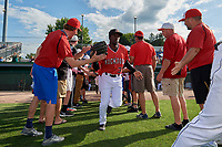 Batavia Muckdogs Milton Smith II (33) during introductions before a NY-Penn League game against the Williamsport Crosscutters on August 25, 2019 at Dwyer Stadium in Batavia, New York.  Williamsport defeated Batavia 10-3.  (Mike Janes/Four Seam Images)