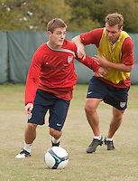 Robbie Rogers and Jimmy Conrad.  U.S. Men's National Team training at RFK Stadium  Monday October 12, 2009  in Washington, D.C.