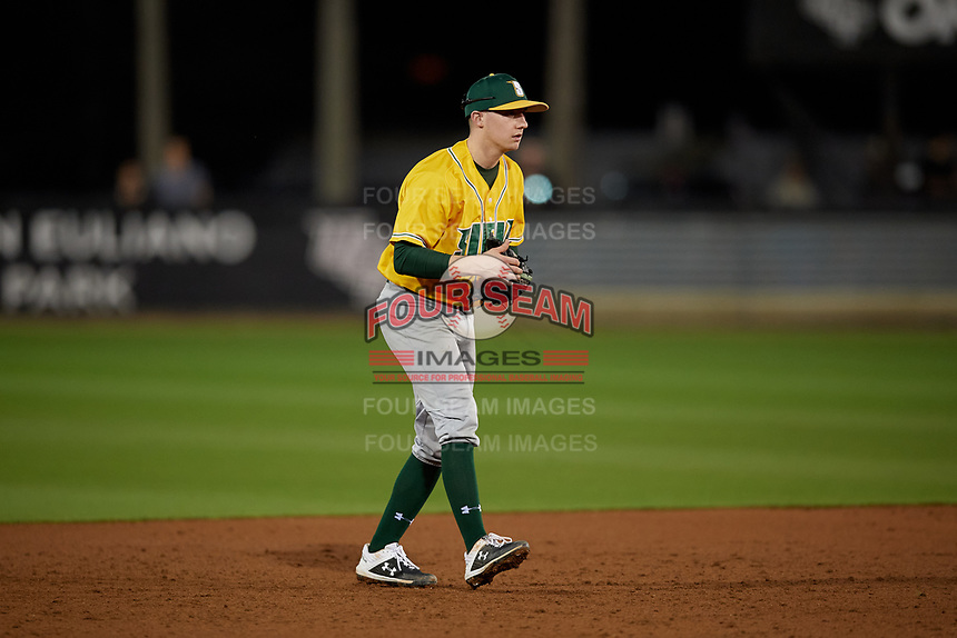 Siena Saints shortstop Devan Kruzinski (12) during a game against the UCF Knights on February 14, 2020 at John Euliano Park in Orlando, Florida.  UCF defeated Siena 2-1.  (Mike Janes/Four Seam Images)