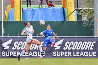 Marie Detruyer (17) of OHL and Rkia Mazrouai (2) of AA Gent pictured during a female soccer game between AA Gent Ladies and Oud Heverlee Leuven on the fourth matchday of play off 1 in the 2020 - 2021 season of Belgian Scooore Womens Super League , saturday 1 st of May 2021  in Oostakker , Belgium . PHOTO SPORTPIX.BE | SPP | STIJN AUDOOREN