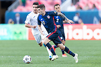 DENVER, CO - JUNE 3: Christian Pulisic #10 of the United States move with the ball during a game between Honduras and USMNT at EMPOWER FIELD AT MILE HIGH on June 3, 2021 in Denver, Colorado.