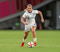 TOKYO, JAPAN - JULY 21: Lindsey Horan #9 of the USWNT dribbles during a game between Sweden and USWNT at Tokyo Stadium on July 21, 2021 in Tokyo, Japan.