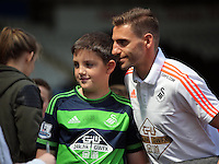 Angel Rangel of Swansea City arrives during the Swansea City FC v Manchester City Premier League game at the Liberty Stadium, Swansea, Wales, UK, Sunday 15 May 2016