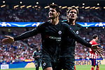 Alvaro Morata (l) of Chelsea FC celebrates with teammate Marcos Alonso during the UEFA Champions League 2017-18 match between Atletico de Madrid and Chelsea FC at the Wanda Metropolitano on 27 September 2017, in Madrid, Spain. Photo by Diego Gonzalez / Power Sport Images