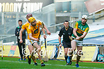 Barry O'Mahony, Kerry in action against Phelim Duffin, Antrim during the Joe McDonagh Cup Final match between Kerry and Antrim at Croke Park in Dublin.