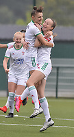 Zenia Mertens (6) of OH Leuven and Sari Kees (2) of OH Leuven pictured during a female soccer game between Oud Heverlee Leuven and Eendracht Aalst on the second matchday of the 2021 - 2022 season of Belgian Womens Super League , sunday 29 nd of August 2021  in Heverlee , Belgium . PHOTO SPORTPIX.BE   JILL DELSAUX
