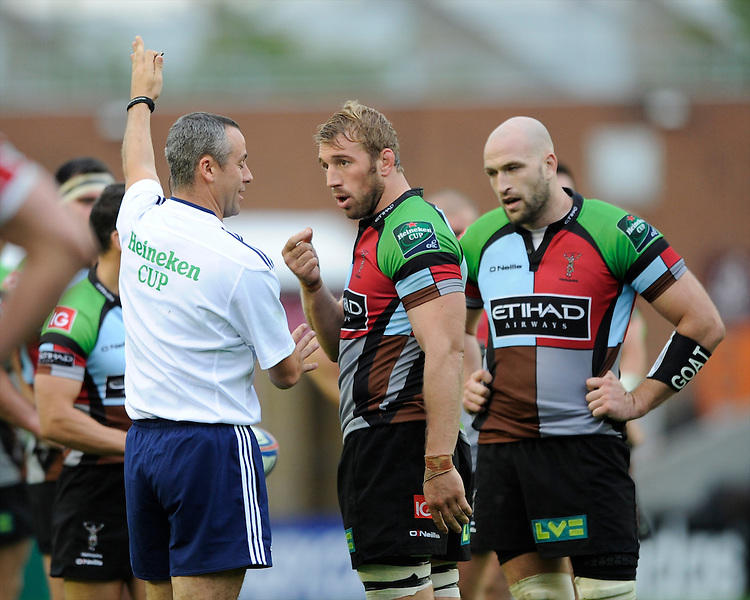 Chris Robshaw of Harlequins in discussion with referee John Lacey of Ireland during the Heineken Cup Round 1 match between Harlequins and Scarlets at the Twickenham Stoop on Saturday 12th October 2013 (Photo by Rob Munro)