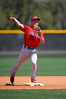 Boston Red Sox Chad De La Guerra (7) during practice before a minor league Spring Training game against the Tampa Bay Rays on March 23, 2016 at Charlotte Sports Park in Port Charlotte, Florida.  (Mike Janes/Four Seam Images)