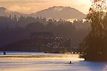 Seattle, Lake Washington, 520 Bridge, sunrise, rowers, morning workout, Cascade Mountains, Washington State, Pacific Northwest, USA, Autumn, Evergreen Point Bridge,