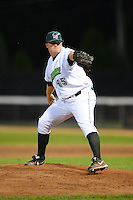 Jamestown Jammers pitcher Brett McKinney #45 during a game against the Williamsport Crosscutters on June 20, 2013 at Russell Diethrick Park in Jamestown, New York.  Jamestown defeated Williamsport 12-6.  (Mike Janes/Four Seam Images)