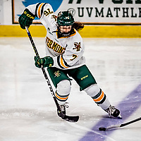 16 February 2019: University of Vermont Catamount Defender Maude Poulin-Labelle, a Freshman from Sherbrooke, Québec, in third period action against the Holy Cross Crusaders at Gutterson Fieldhouse in Burlington, Vermont. The Lady Cats defeated the Crusaders 4-1 to sweep their 2-game weekend series. Mandatory Credit: Ed Wolfstein Photo *** RAW (NEF) Image File Available ***