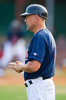 Elizabethton Twins hitting coach Jeff Reed #1 in the third base coaches box at Joe O'Brien Field August 14, 2010, in Elizabethton, Tennessee.  Photo by Brian Westerholt / Four Seam Images
