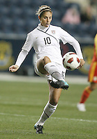 Carli Lloyd #10 of the USA WNT during an international friendly match against the PRC WNT at PPL Park, on October 6 2010 in Chester, PA.The game ended in a 1-1 tie.