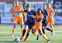 Charlotte Laridon (15 Brugge) pictured in a fight for the ball with Lakeesha Eijken (7 Gent) during a female soccer game between Club Brugge Dames YLA and AA Gent Ladies on the sixth matchday of the 2020 - 2021 season of Belgian Scooore Womens Super League , saturday 7 th November 2020  in Knokke , Belgium . PHOTO SPORTPIX.BE | SPP | DAVID CATRY