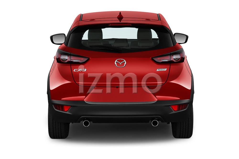 Straight rear view of 2019 Mazda CX-3 Grand-Touring 5 Door SUV Rear View  stock images